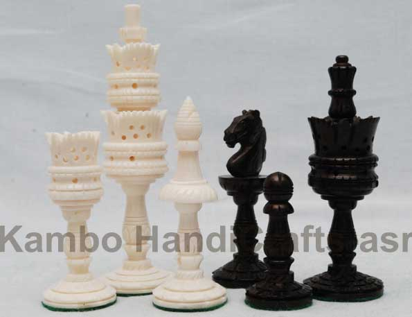Wooden Bone CHess Pieces